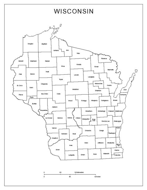map of wisconsin counties wisconsin labeled map