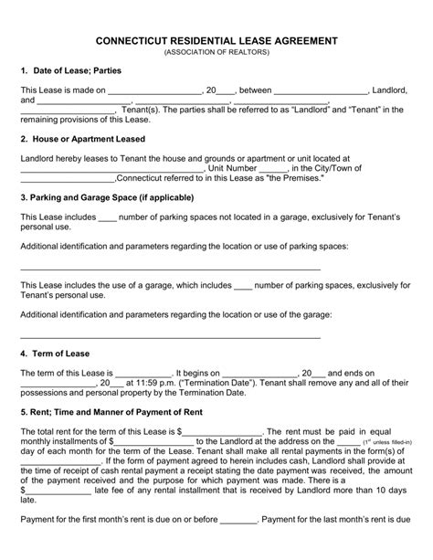 printable lease agreement ct free connecticut association of realtors residential lease