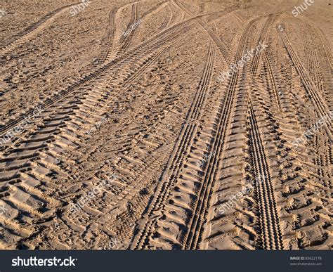 Sand Trax Sand Lander Road road 4x4 wheel tracks on country desert road sand motoring background image stock