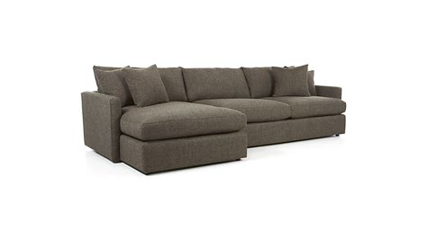 2 piece sectional sofa lounge ii grey chaise lounge sectional crate and barrel
