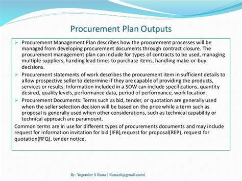 procurement management template project management project procurement management