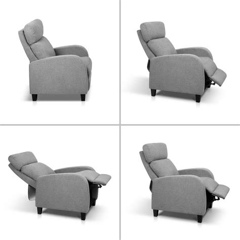 linen fabric armchair recliner grey