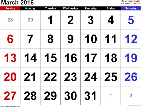 Calendar March 2016 March 2016 Calendars For Word Excel Pdf