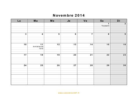 Calendrier Novembre 2014 Calendrier Novembre 2014 224 Imprimer Gratuit En Pdf Et Excel