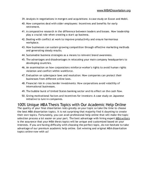 Mba Dissertation Questionnaire Sle mba dissertation topics 28 images dissertation topics