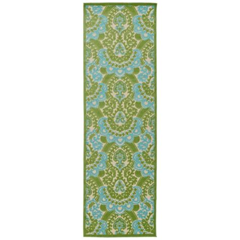 indoor outdoor rug runner kaleen five seasons green 2 ft 6 in x 7 ft 10 in indoor outdoor rug runner fsr107 50 26710