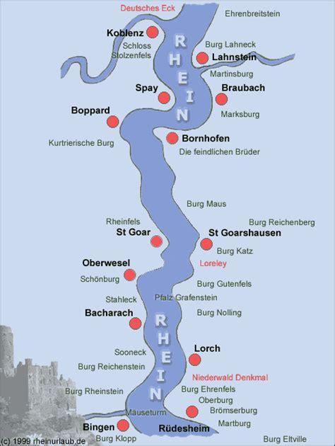 rhine germany map rhine river valley map with rhine castles between koblenz