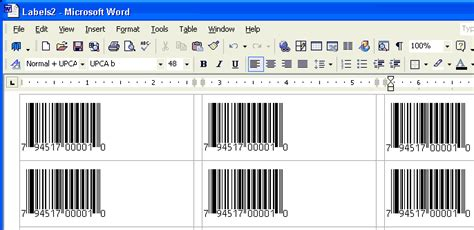print bar code labels using your word processor a bar code