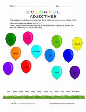 are colors adjectives colorful adjectives worksheet education