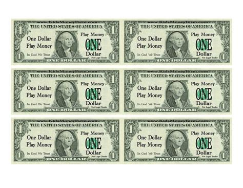 play dollar bill template and printable play money for