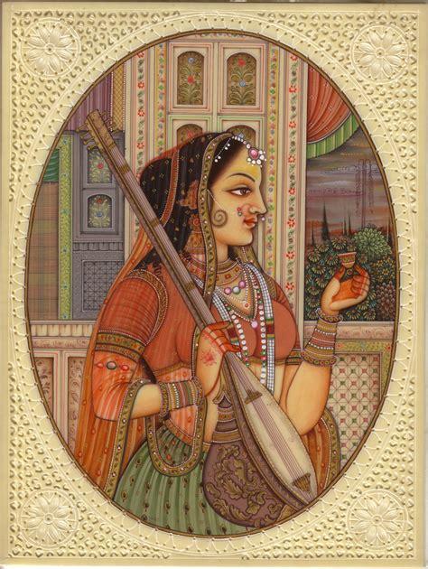 Handmade Portraits - indian miniature painting rajasthani princess handmade