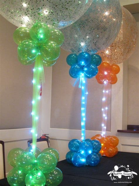 balloon centerpieces green blue orange sparkle balloons with balloon bases lights these sparkle balloons look
