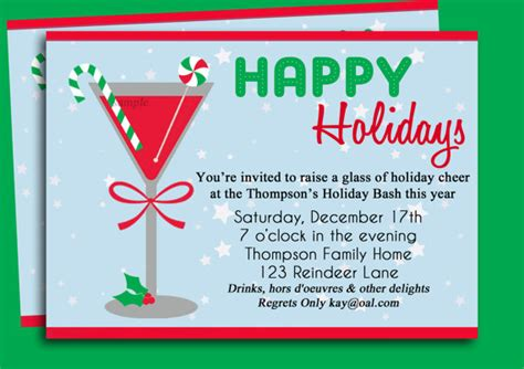 christmas cocktail party invitation printable holiday