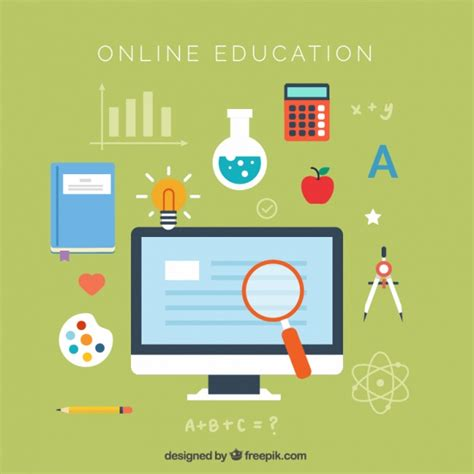 online design qualifications flat background of online education vector free download