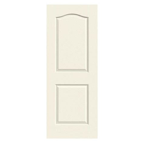 jeld wen 24 in x 80 in molded smooth 2 panel arch plank jeld wen 24 in x 80 in camden vanilla painted textured