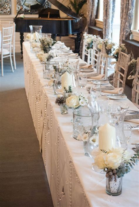 wedding bridal table decoration ideas winter wedding flowers at eaves laurel weddings
