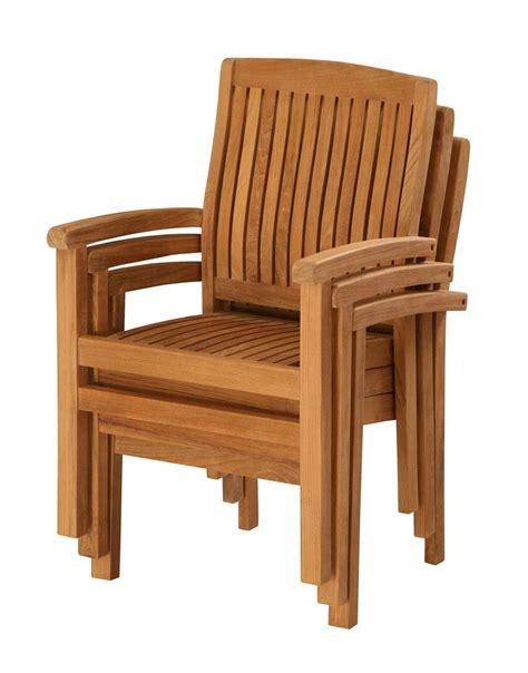 fauteuil empilable en teck huil 233 60x62x93cm
