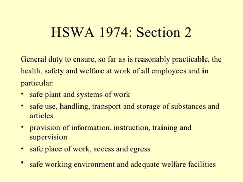 health and safety act section 2 hse background and law unit 1 session 2