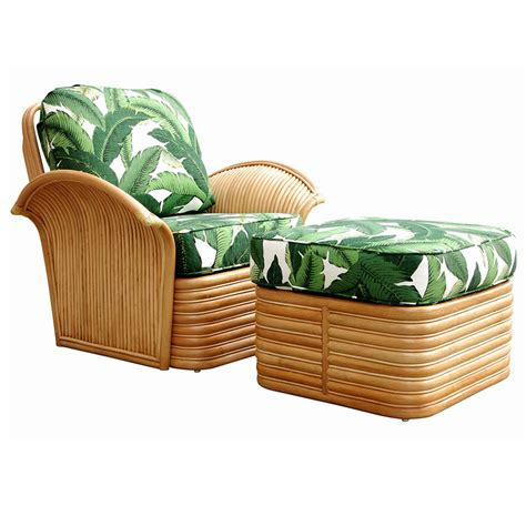 rattan armchair and ottoman restored rattan fan arm lounge chair ottoman set