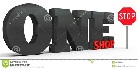 one stop shop 3d one stop shop sign stock illustration image 64049489
