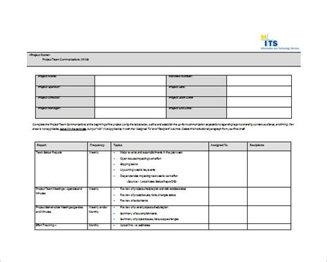 team plan template 9 project communication plan templates pdf word format