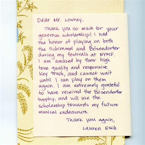 Thank You Letter To Piano News Events Robert Lowrey Piano Experts
