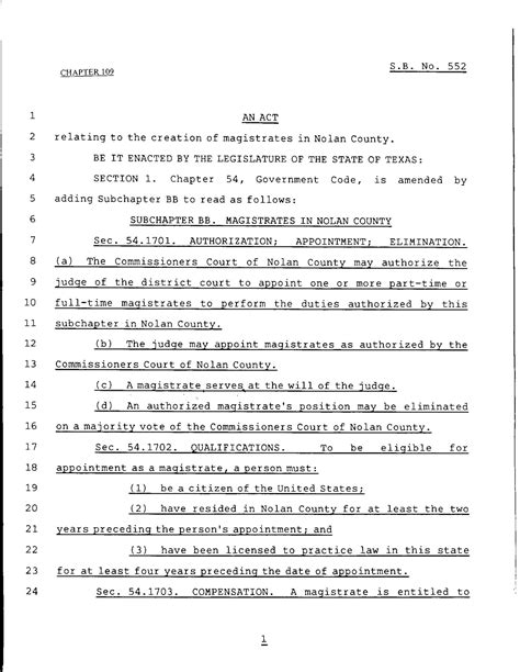legislative template 79th legislature regular session senate bill 552