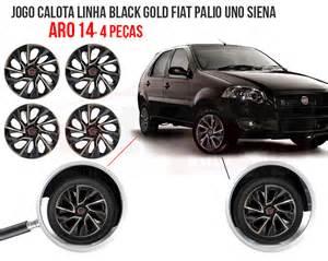 Gold Fiat Jogo Calota Aro 14 Esportiva Black Gold Fiat Palio Uno