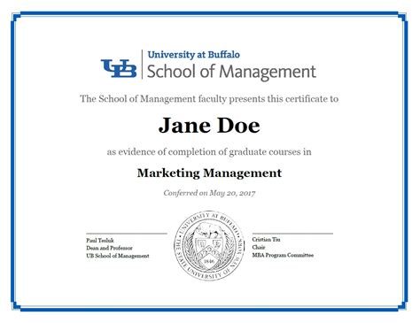 Of Buffalo Mba Tuition by Certificates School Of Management At Buffalo