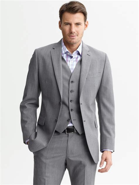 Suit Blazer lyst banana republic tailored grey plaid wool two button