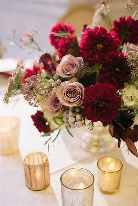burgundy wedding centerpieces roses rings part