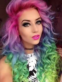 with colorful hair colours of the rainbow