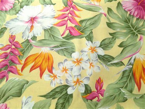 Hawaiian Print Upholstery Fabric by Hawaiian Fabric Multi Color Floral Yellow Hawaiian Print