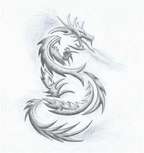 tattoo sketch dragon pencil on the far side