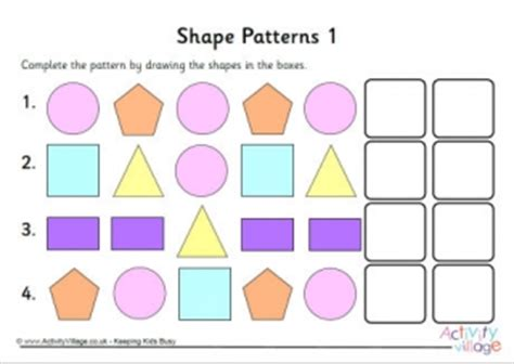 continuing patterns ks1 shape pattern worksheets