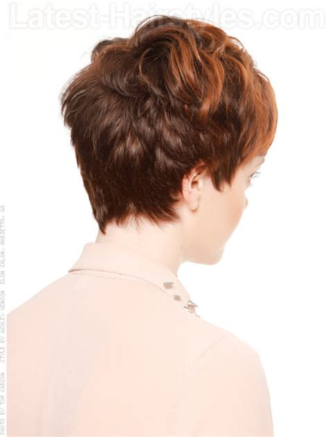 sexy hot back views of pixie hair cuts short brunette casual pixie with highlights back view