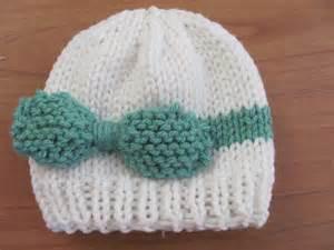 Twenty something granny knitted baby bow hat