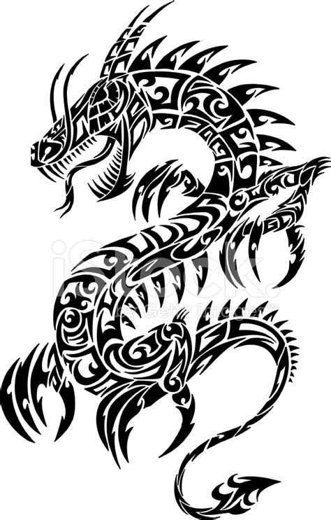 dragon tattoo vector free tribal dragon tattoo stock vector freeimages com