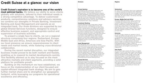 Credit Suisse Form 20 F Credit Suisse At A Glance Our Vision Credit Suisse S