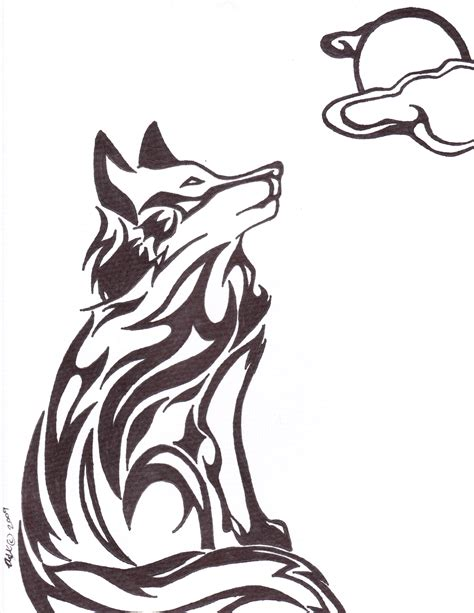 tribal wolf tattoos moon and tribal wolf design