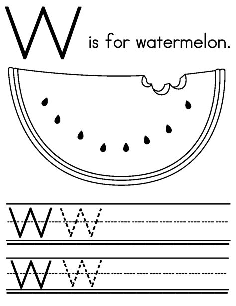 watermelon coloring page w is for watermelon coloring pages