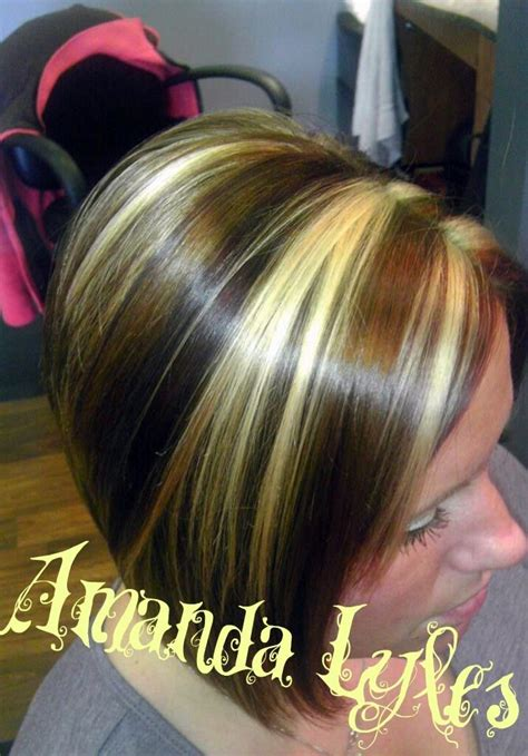 chuncky bob hair cuts highlights chunky of copper blonde and redbrown haircut