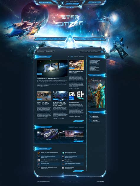 game website layout scifi starcitizen game template