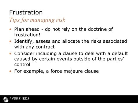 frustration of contracts and force majeure clauses