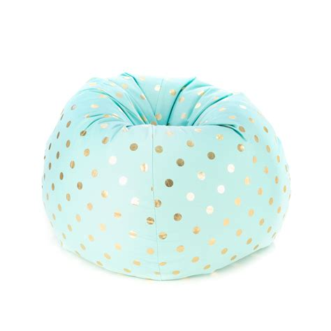 gold polka dot bean bag classic teardrop bean bag gold coin powder blue