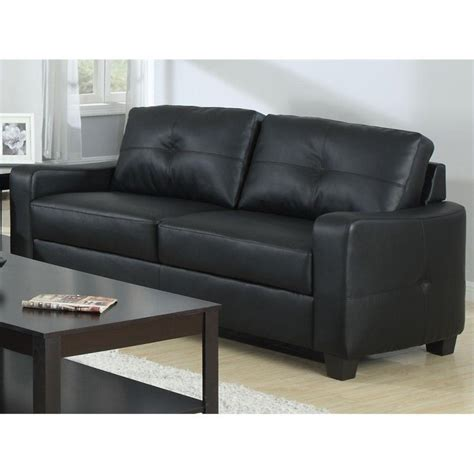 coaster leather sofa in black 502721