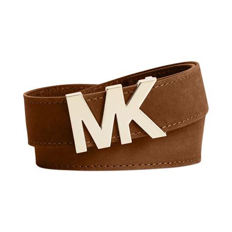 michael kors michael mk logo plaque leather belt in brown