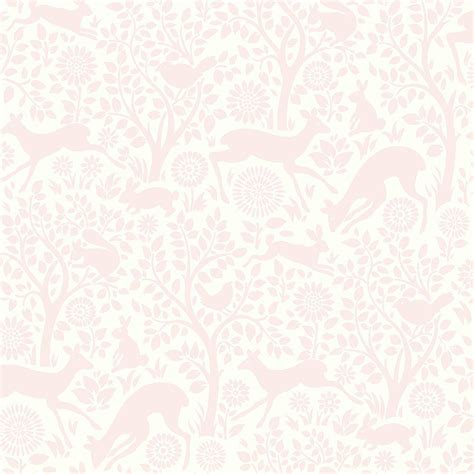 Chesapeake Anahi Light Pink Forest Fauna Wallpaper Sample