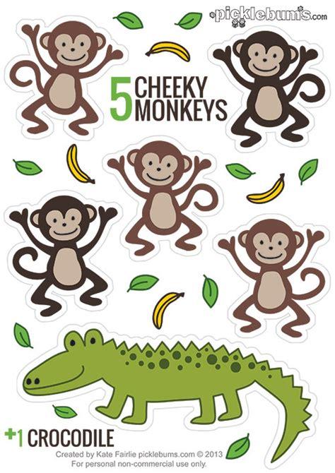 three cheeky monkeys swinging in a tree printable puppets five cheeky monkeys and a crocodile