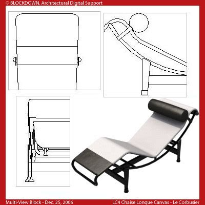 chaise dwg general dwg multi view block
